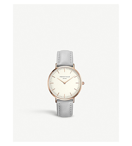 ROSEFIELD B-W-GR-B9 The Bowery stainless steel leather strap watch