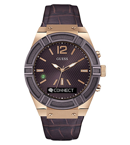 GUESS c0001g2 Connect stainless steel and leather watch