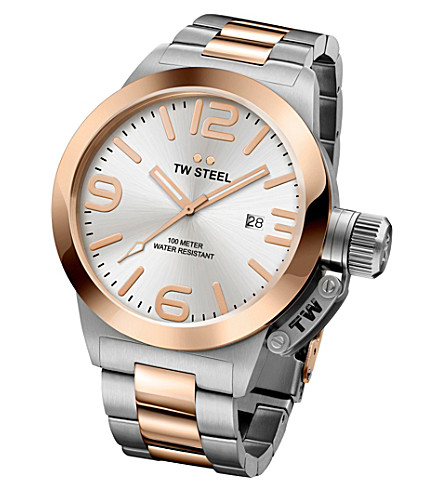TW STEEL CB121 Canteen rose gold PVD-plated stainless steel watch