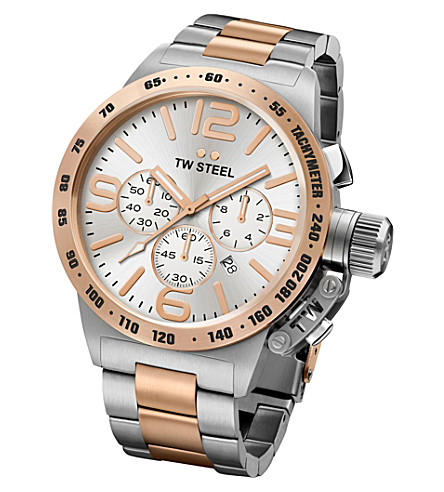 TW STEEL CB123 Canteen rose gold PVD-plated and stainless steel chronograph watch