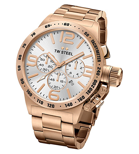 TW STEEL CB163 Canteen rose gold PVD-plated stainless steel chronograph watch