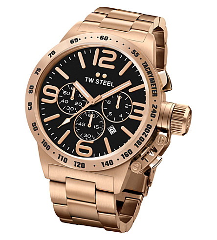 TW STEEL CB173 Canteen rose gold PVD-plated stainless steel chronograph watch