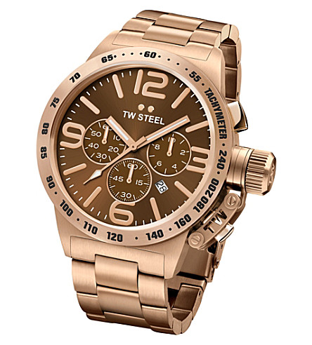 TW STEEL CB193 Canteen rose gold PVD-plated stainless steel chronograph watch