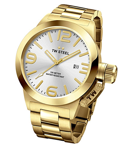 TW STEEL CB81 Canteen PVD yellow gold-plated stainless steel watch