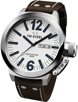 TW STEEL CEO steel case and leather strap watch