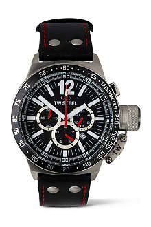 TW STEEL CEO Canteen black leather chronograph watch
