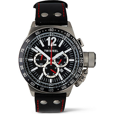 TW STEEL CEO Canteen black leather chronograph watch (Black