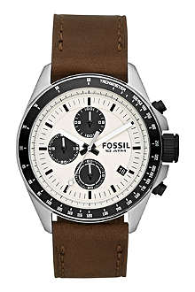 FOSSIL CH2882 Decker stainless steel and leather chronograph watch