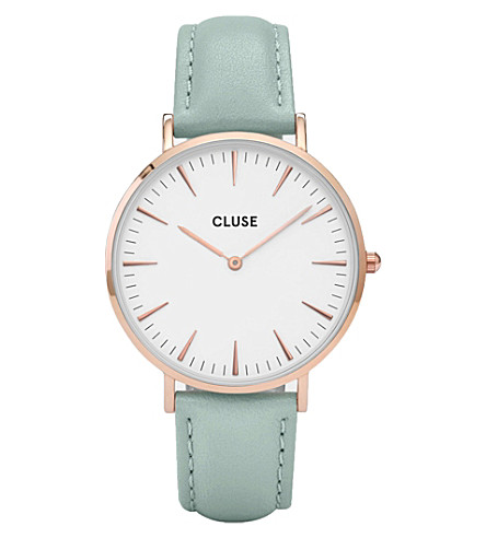 CLUSE CL18021 La Bohème rose gold and leather watch (White