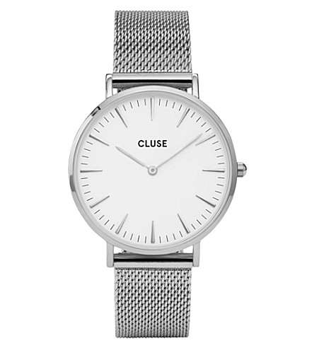 CLUSE CL18105 La Bohème stainless steel mesh watch (White