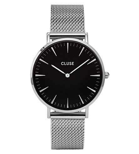 CLUSE CL18106 La Bohème stainless steel mesh watch (Black