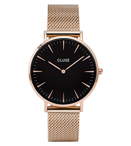 CLUSE CL18113 La Bohème rose gold and stainless steel mesh watch (Black