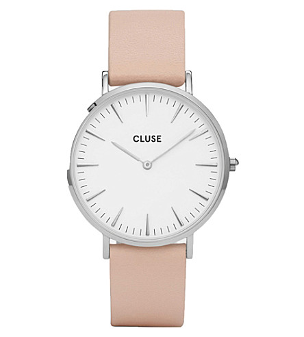 CLUSE CL18231 La Bohème stainless steel and leather watch (White