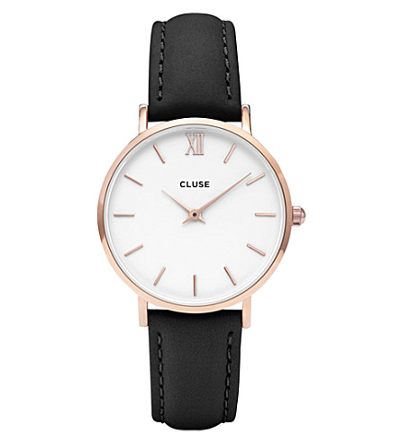 CLUSE CL30003 Minuit rose gold, stainless steel and leather watch (White