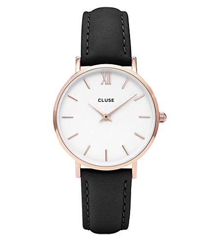 CLUSE CL30003 Minuit 玫瑰金, 不锈钢和皮革手表 (白色