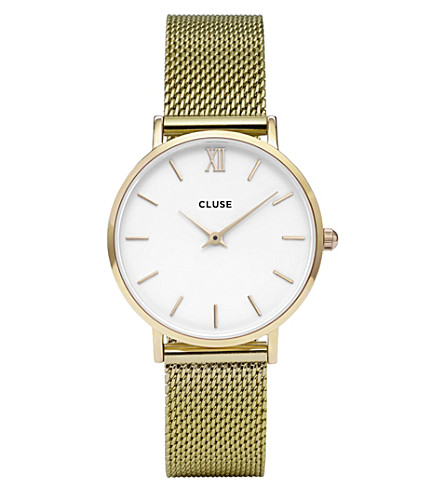 CLUSE CL30010 Minuit stainless steel gold mesh watch (White