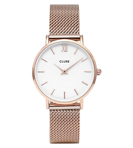 CLUSE CL30013 Minuit stainless steel rose gold mesh watch (White