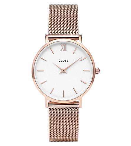 CLUSE CL30013 Minuit 不锈钢 Rose Gold 网目腕表 (白色