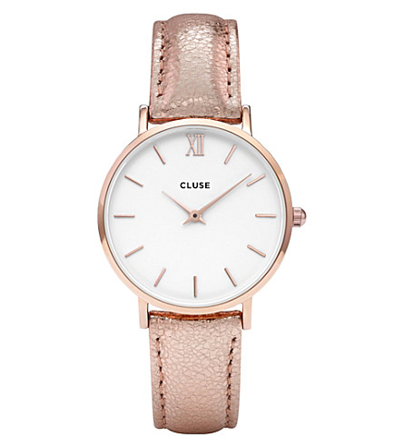 CLUSE CL30038 Minuit stainless steel and leather watch