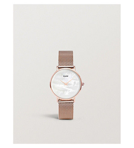 CLUSE Minuit rose gold-plated watch