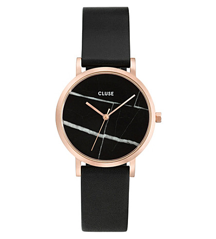 CLUSE CL40104 La Roche rose gold-plated marble-dial leather watch
