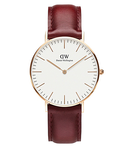 DANIEL WELLINGTON Classic Suffolk rose-gold and leather strap