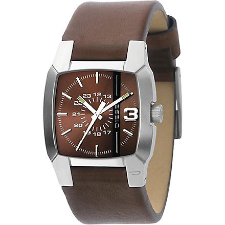 DIESEL DZ1090 stainless steel and leather watch (Brown