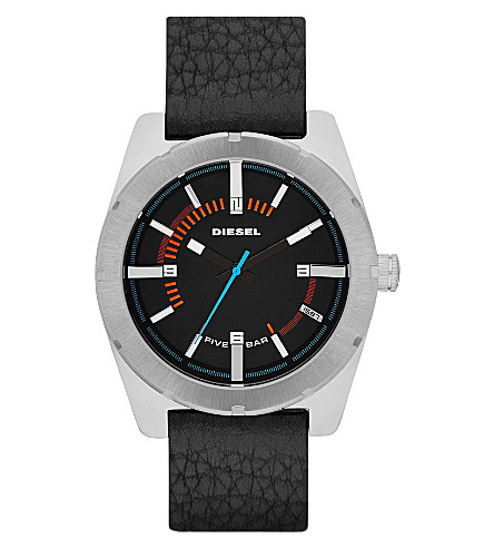 DIESEL DZ1597 stainless steel and leather (Black