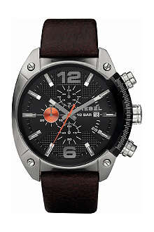 DIESEL DZ4204 steel and leather chronograph watch