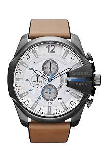 DIESEL dz4280 stainless steel and leather watch