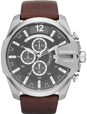 DIESEL dz4290 stainless steel and leather watch