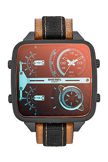 DIESEL DZ7285 Daddy stainless steel and leather watch