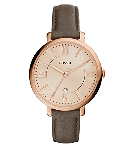 FOSSIL ES3707 Jacqueline stainless steel and leather watch (Rose+gold