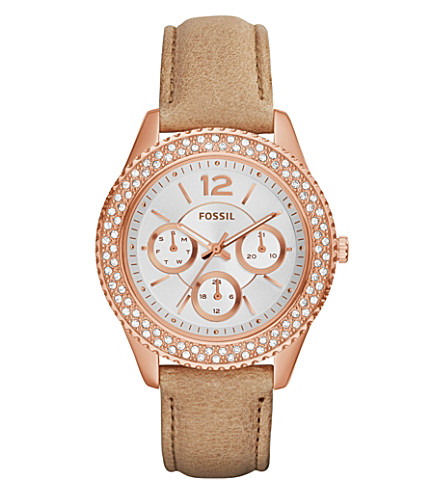 FOSSIL ES3816 Stella rose gold-toned and leather watch (White