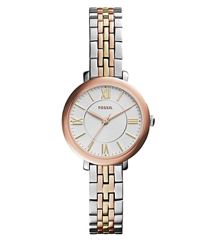 FOSSIL ES3847 Jacqueline stainless steel and leather watch (White