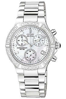 CITIZEN FB102052D Riva diamond-set steel chronograph watch