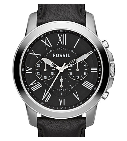 FOSSIL FS4812 Grant stainless steel and leather watch (Black