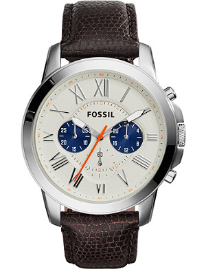 FOSSIL FS5021 Grant stainless steel and leather chronograph watch
