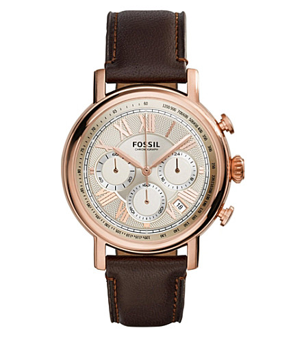 FOSSIL FS5103 Buchanan rose gold-plated and leather watch (Cream