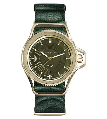 GIVENCHY GY100181s03 十七黄色镀金和皮革手表