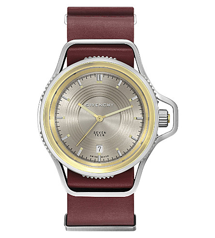 GIVENCHY GY100181s15 Seventeen stainless steel, yellow gold-plated and leather watch