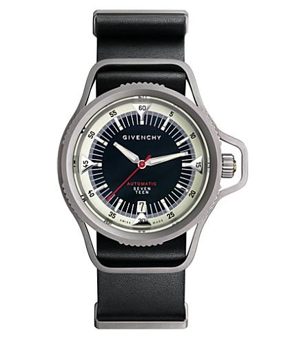 GIVENCHY GY100201s01 十七机械版钛和皮革手表 (黑色