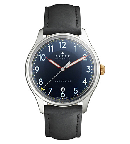 FARER Hopewell stainless steel and leather watch