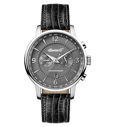 INGERSOLL I00601 stainless steel and leather watch