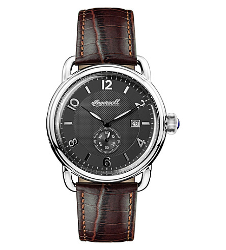 INGERSOLL I00801 New England stainless steel and leather chronograph watch