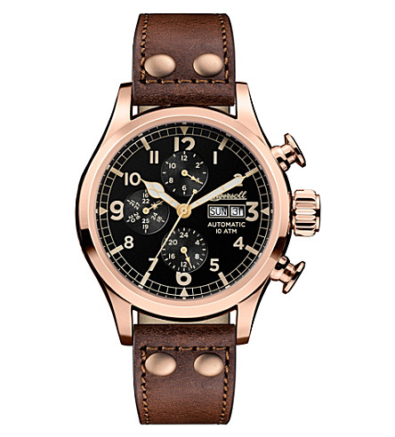 INGERSOLL I02201 Armstrong automatic IP rose gold-plated stainless steel and leather chronograph watch