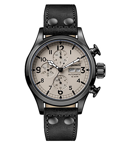 INGERSOLL I02202 Armstrong automatic stainless steel and leather chronograph watch
