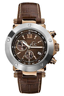 GC I45003G1 stainless steel and leather chronograph watch