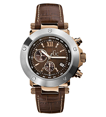 GC I45003G1 stainless steel and leather chronograph watch (Brown