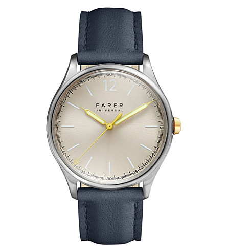 FARER Johnson three-hand stainless steel and leather watch (Champagne